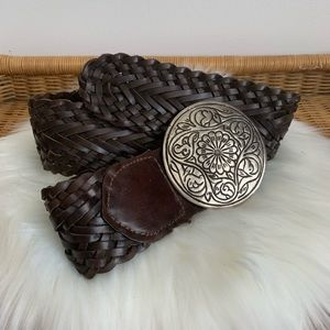 3/$25 Brown wide leather braided belt size Large